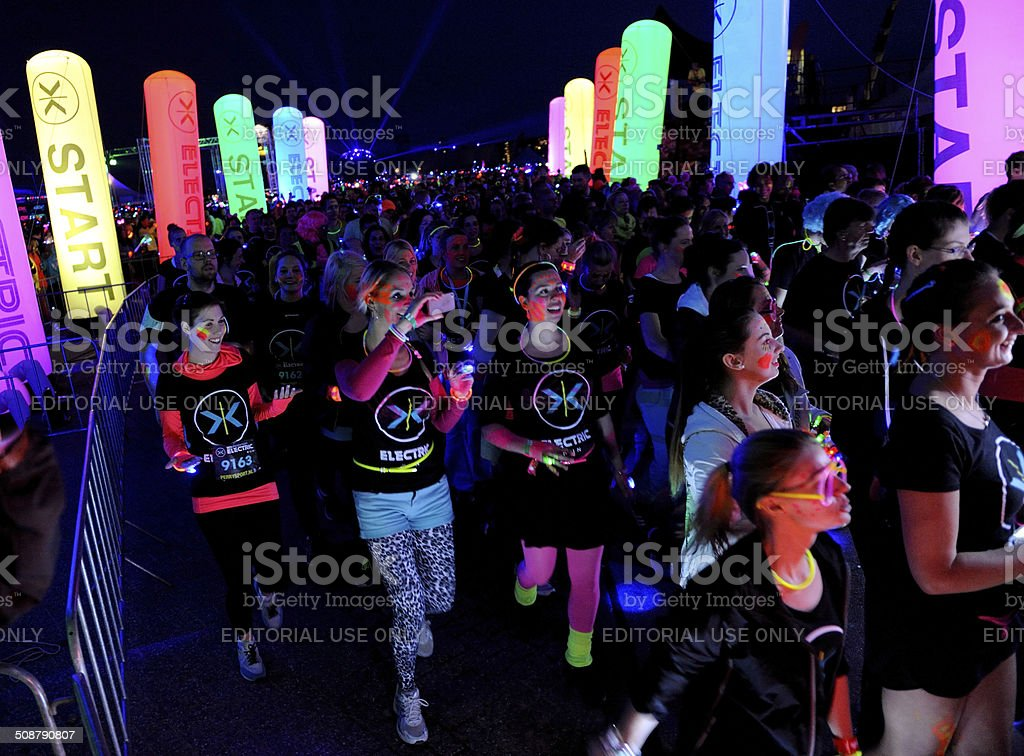 Competitors starting their Electric Run stock photo