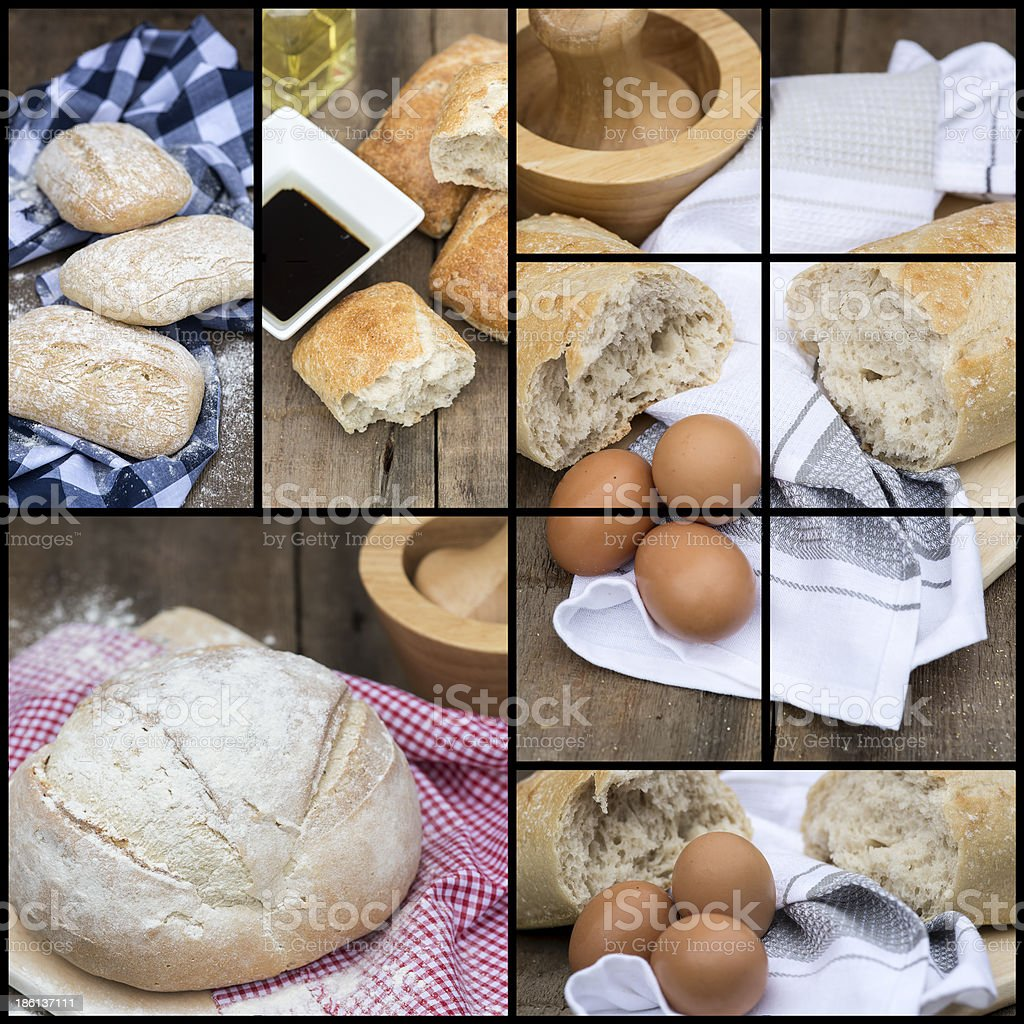 Compilation collage of fresh bread making stages royalty-free stock photo