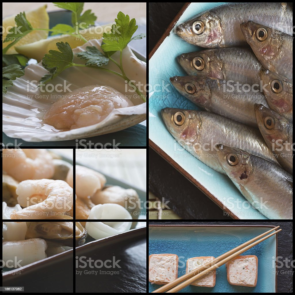 Compilation collage of fresh seafood and sushi royalty-free stock photo