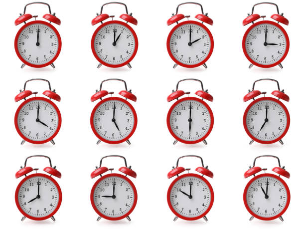 Compilation of alarm clocks with different time settings from one hour to twelve stock photo