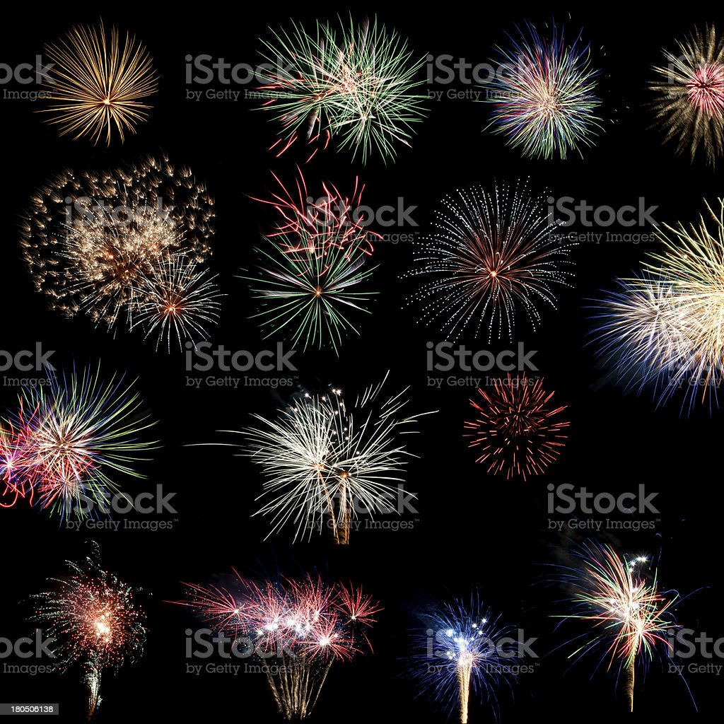 Compilation of fireworks on a black background royalty-free stock photo