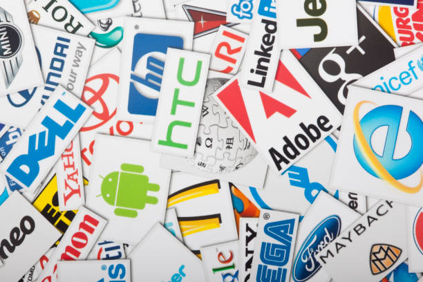 a compilation of major us retail chains. - tree logo stock photos and pictures