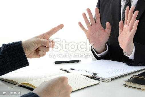 Complainer and business man in meeting