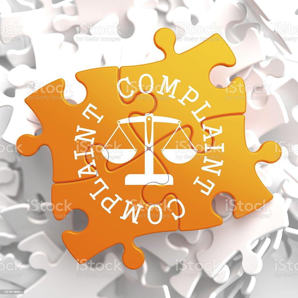 Complaint Concept on Orange Puzzle. stock photo