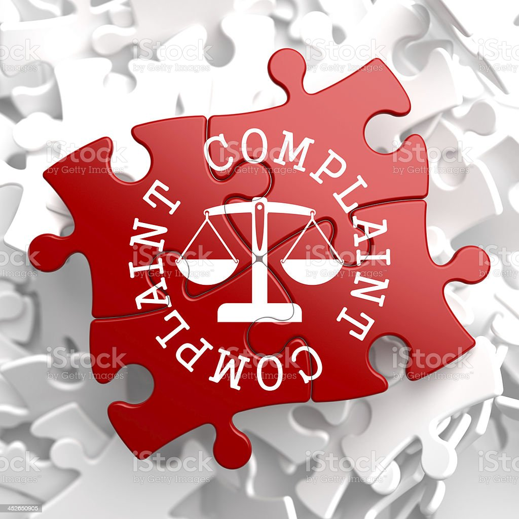 Complaint Concept on Red Puzzle. stock photo