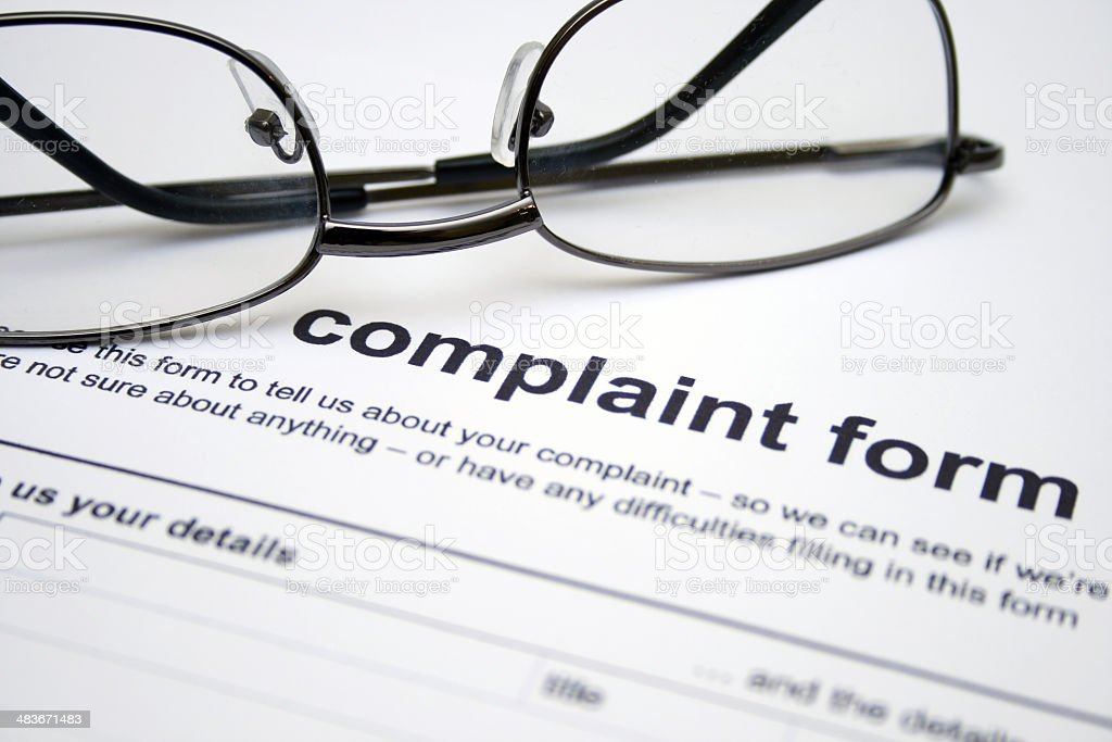 Complaint form stock photo
