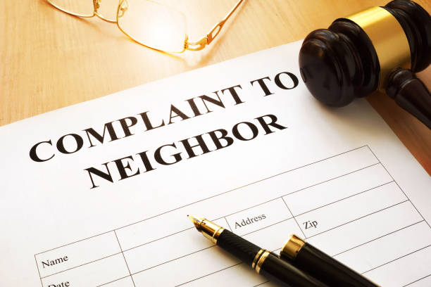 Complaint to neighbor on a table. stock photo