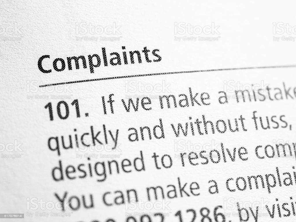 Complaints stock photo