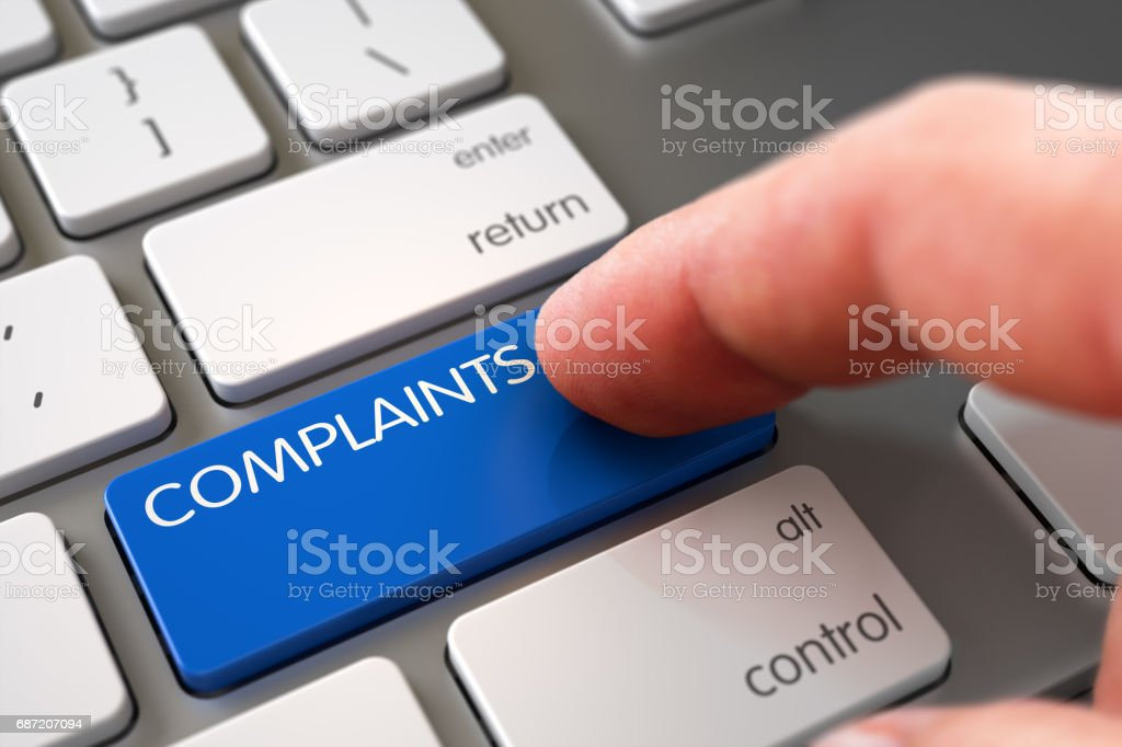 Complaints - White Keyboard Concept. 3D stock photo