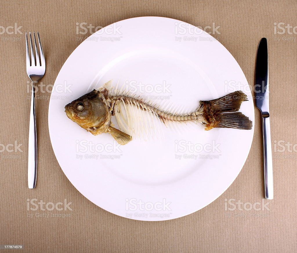 Complete bone of whole fish on plate, abstract stock photo