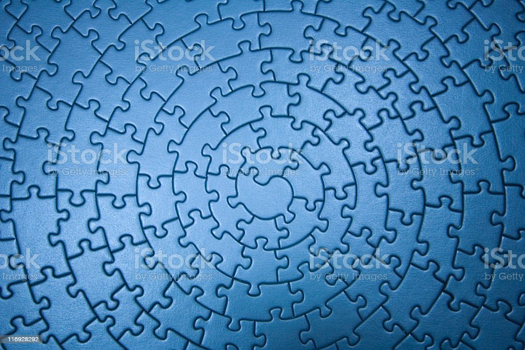 A complete circular blue jigsaw puzzle royalty-free stock photo