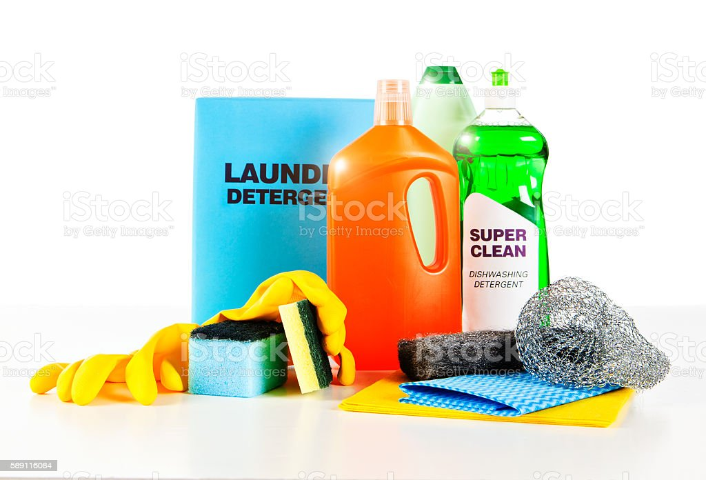 Complete collection of unbranded basic household cleaning products NOTE TO INSPECTOR: The product labels are dummies created by the photographer. Thank you. Bottle Stock Photo