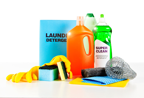 Complete Collection Of Unbranded Basic Household Cleaning Products Stock Photo - Download Image Now