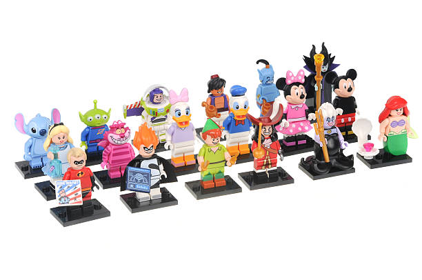 Complete Disney Series 1 Lego Minifigure Collection Adelaide, Australia - June 05, 2016:A studio shot of a Complete Disney Series 1 Lego Minifigure Collection isolated on a white background. Lego is extremely popular worldwide with children and collectors. peter pan stock pictures, royalty-free photos & images