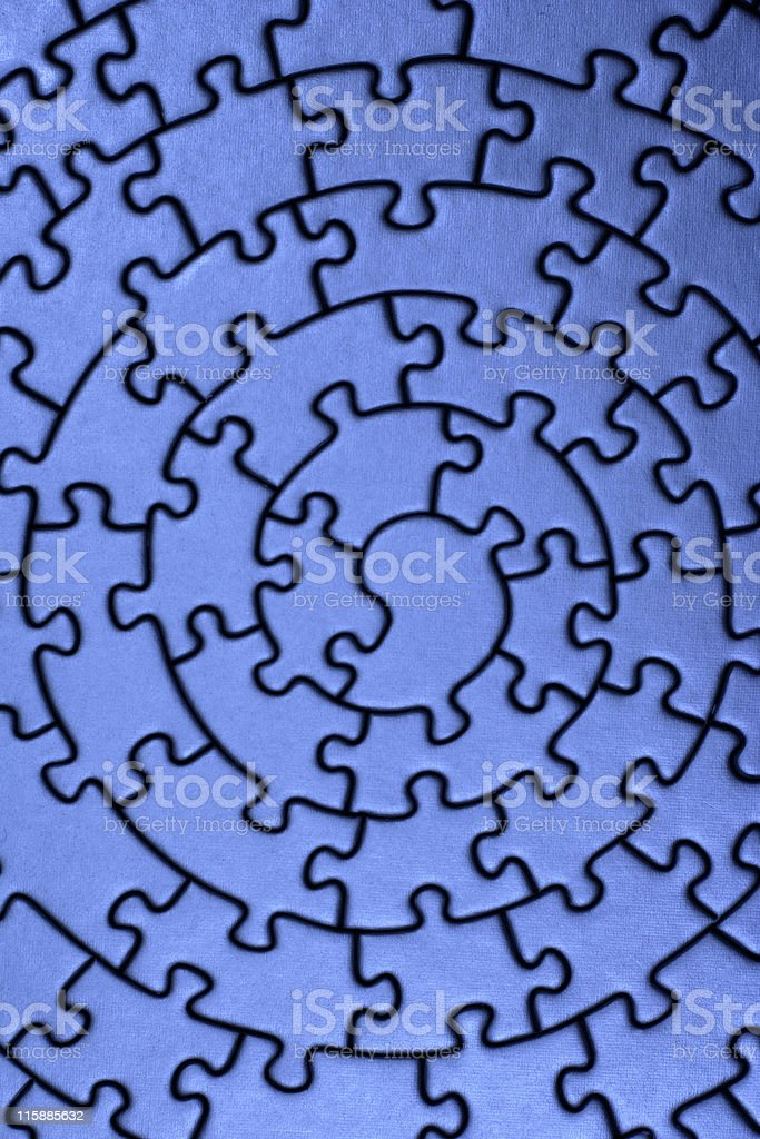 complete jigsaw in blue royalty-free stock photo