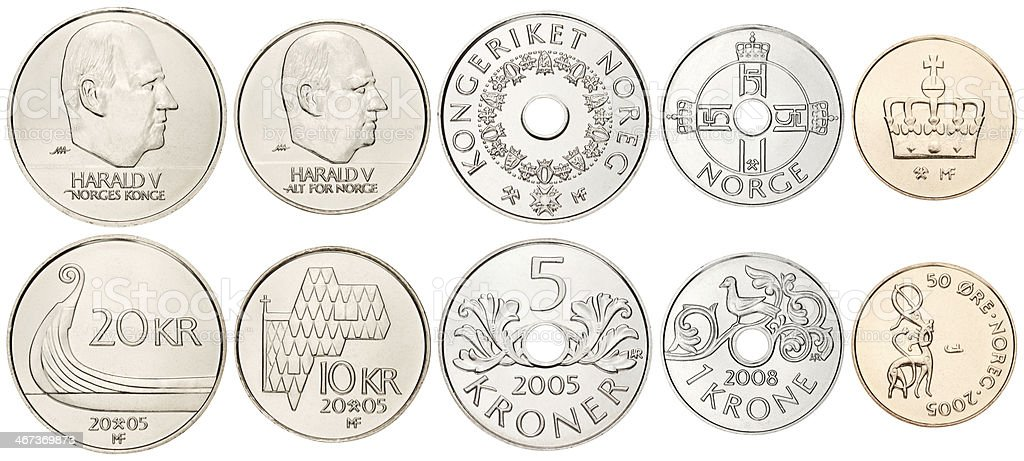 Complete Norwegian coins set on white background stock photo