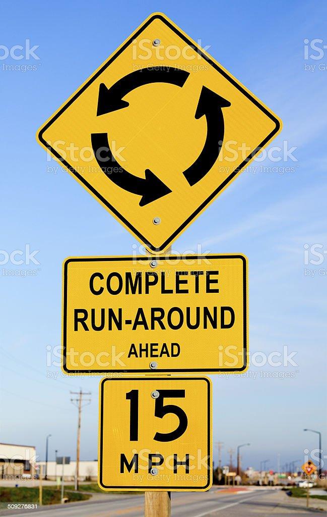 Complete Runaround Ahead Road Warning Sign stock photo