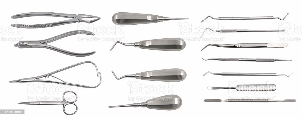 complete set of dental tools stock photo