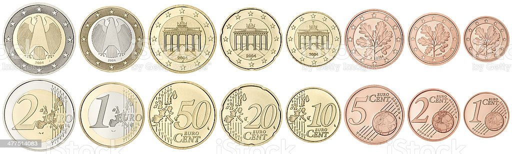 Complete set of Euro Coins on white background stock photo