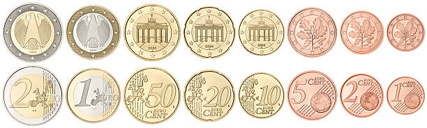 Complete set of Euro Coins on white background Set of Euro coins in excellent condition, isolated on white euro symbol stock pictures, royalty-free photos & images