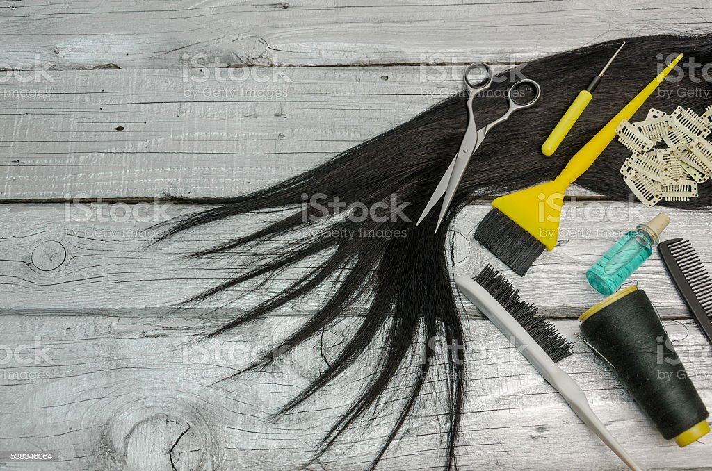 complete set of hairdressing tools on a board or table stock photo