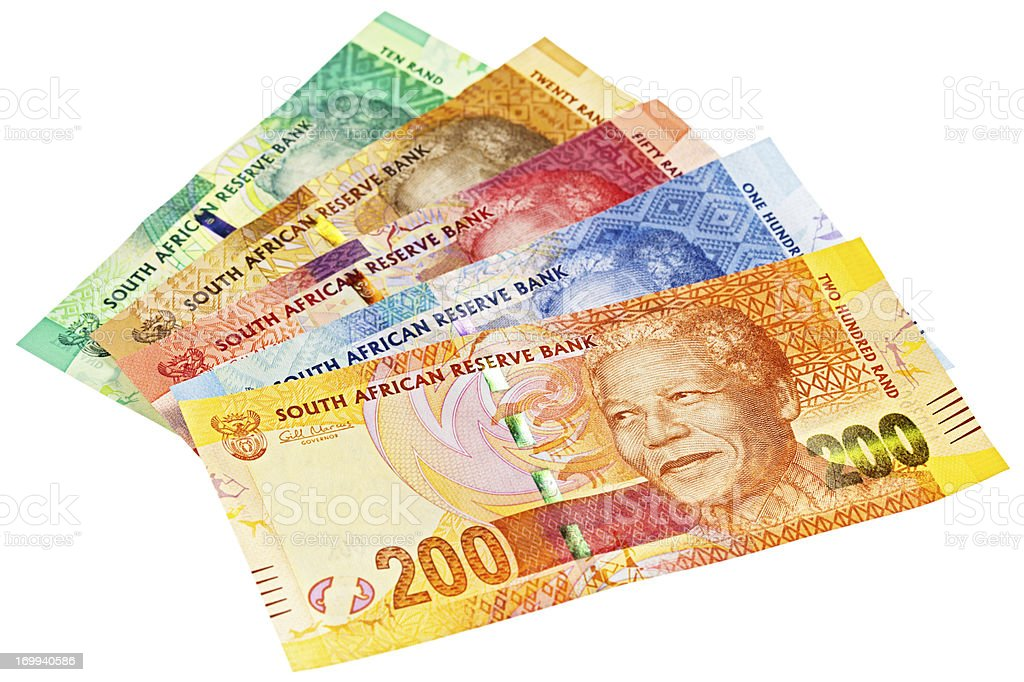 Complete set of new South African banknotes featuring Nelson Mandela stock photo