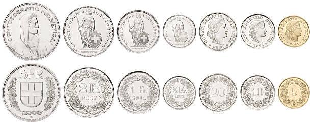 complete set of swiss coins on white background - franken stockfoto's en -beelden