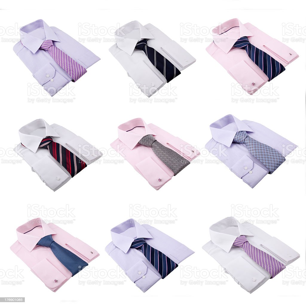 complete sets of shirts with neckties isolated on white royalty-free stock photo