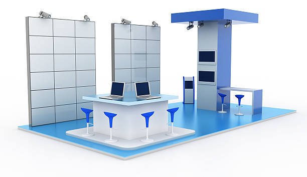 Complete trade kiosk with two videowalls stock photo
