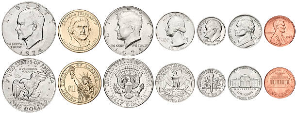 complete us coins set on white background - 美國硬幣 個照片及圖片檔