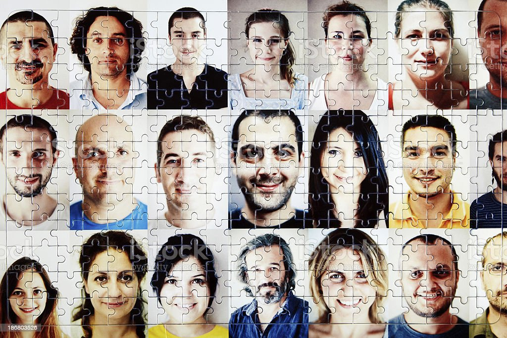 Completed People Puzzle stock photo
