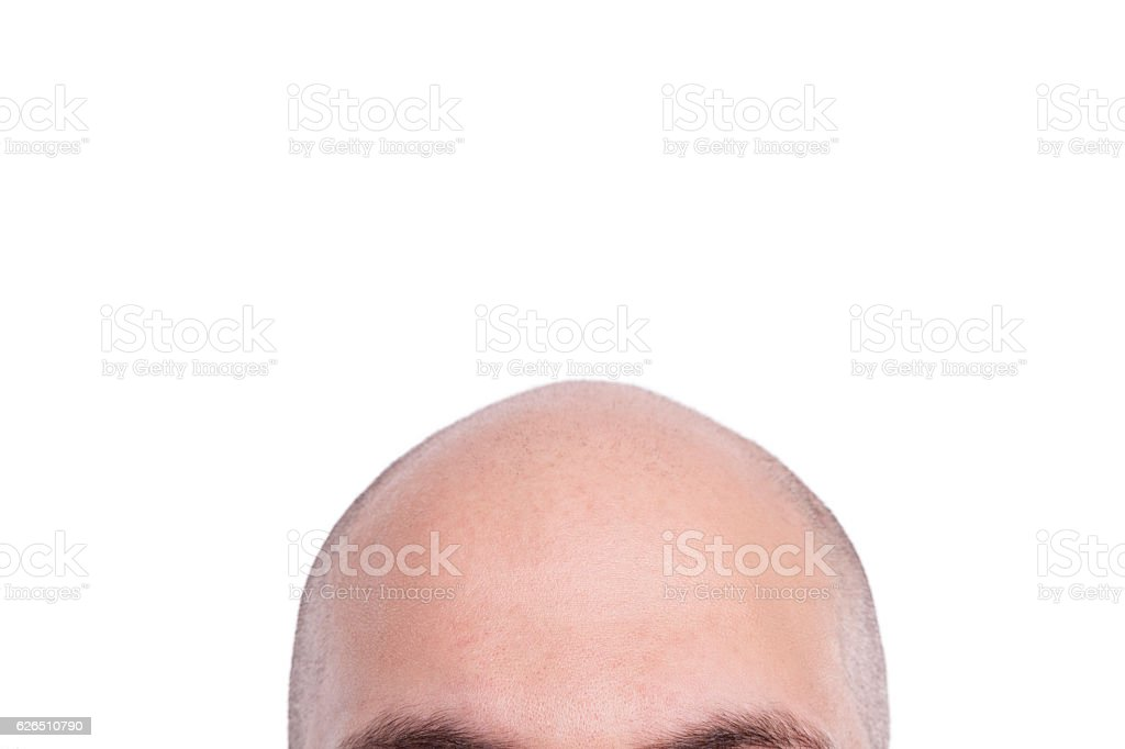 Completely bald man head stock photo
