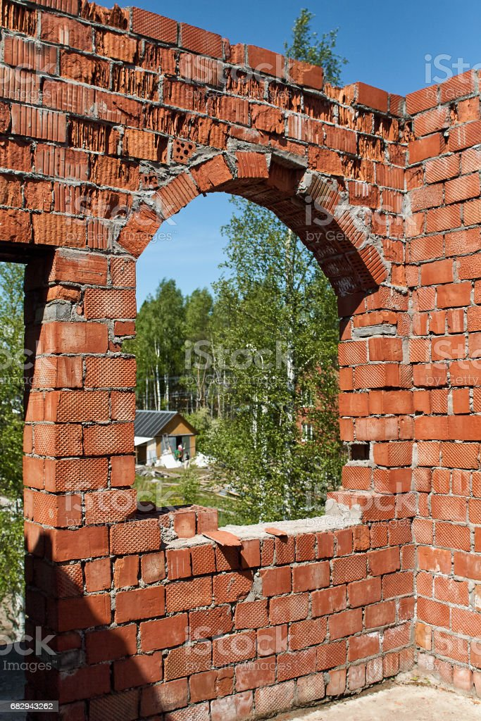 Completely destroyed a two-story brick building without a roof in the suburbs of St. Petersburg. royalty-free stock photo
