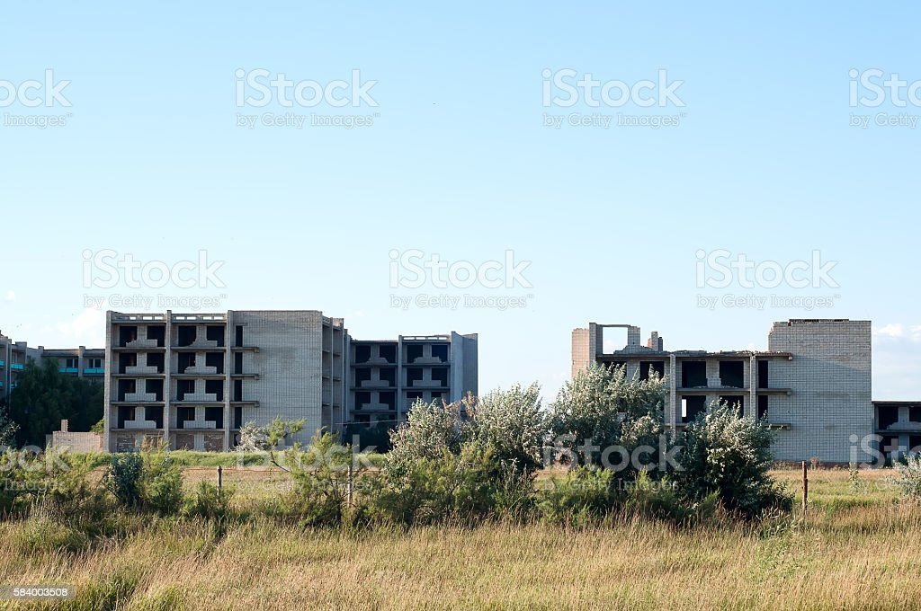 Completely destroyed brick building stock photo
