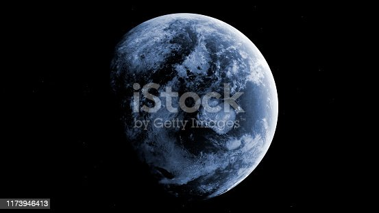 Completely frozen planet earth on white background. 3D rendering.