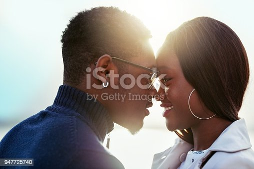 Shot of an affectionate young couple bonding together outdoors