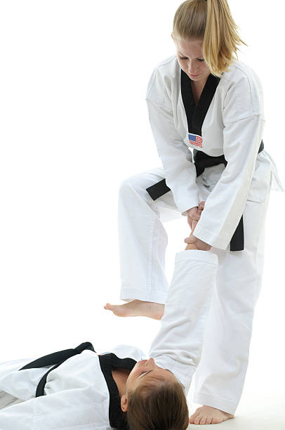 completing the finish move - martial arts gerville stock photos and pictures