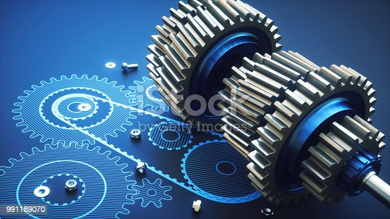 istock Complex artificial gearbox machinery close up 991189070
