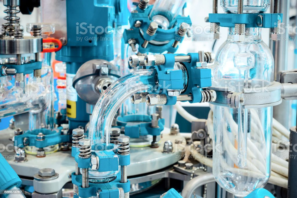 Complex chemical industrial equipment stock photo