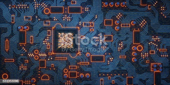 istock Complex Circuit Board on Dark Surface 533353096