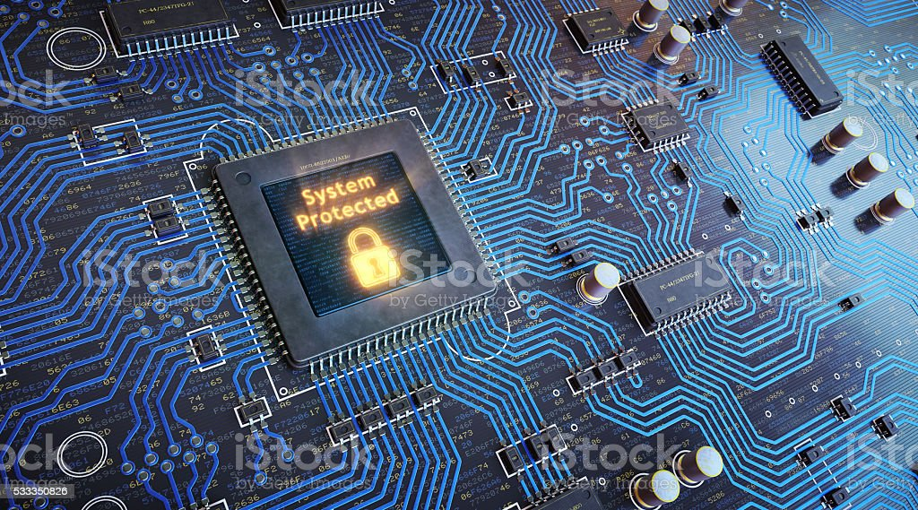 Complex Circuit Board With Security Message stock photo