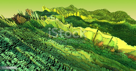 istock 3D Complex City 3D Illustration Render With Moving Colorful Cubes 1179955802