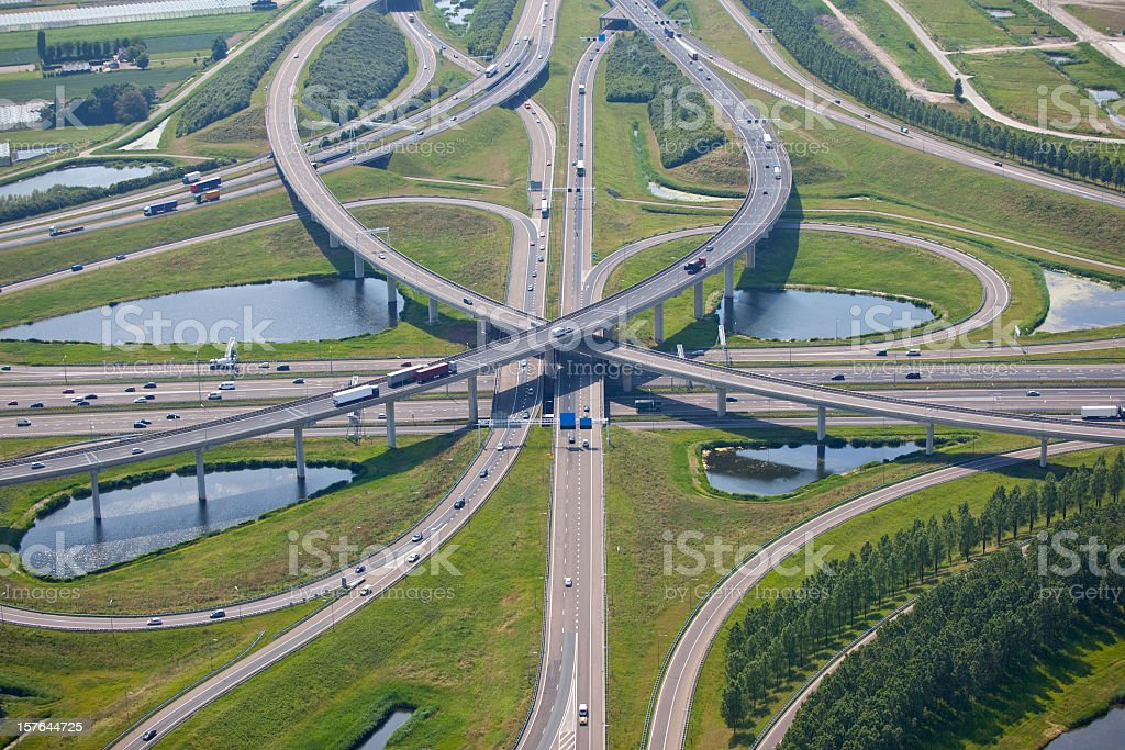 Complex freeway intersection and overpasses royalty-free stock photo