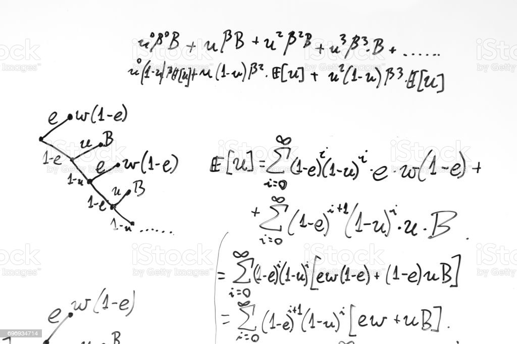 Complex math formulas on whiteboard. Mathematics and science with economics stock photo