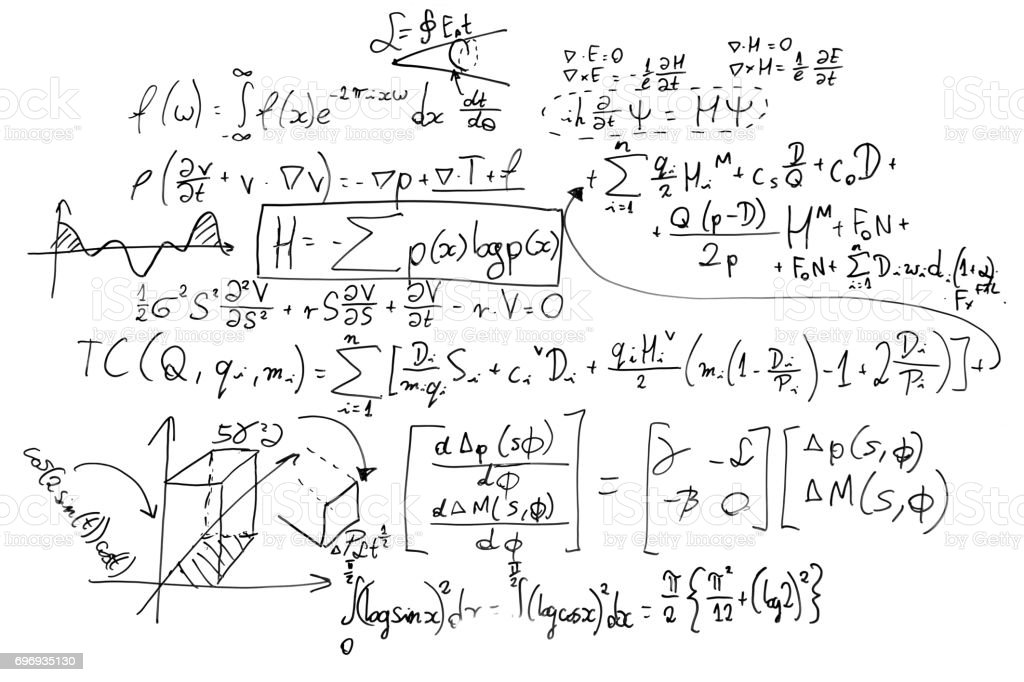 Complex math formulas on whiteboard. Mathematics and science with economics Complex math formulas on whiteboard. Mathematics and science with economics concept. Real equations, symbols handwritten by a professional. Algebra Stock Photo