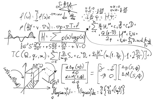 Complex Math Formulas On Whiteboard Mathematics And Science With Economics Stock Photo - Download Image Now