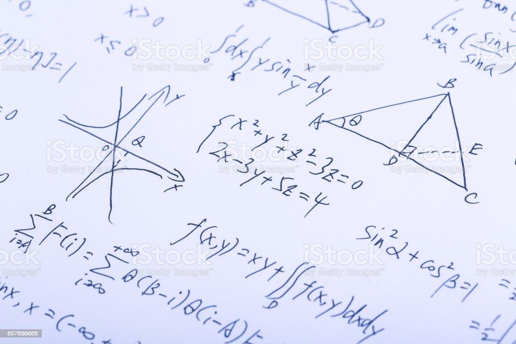 Complex Math Formulas stock photo