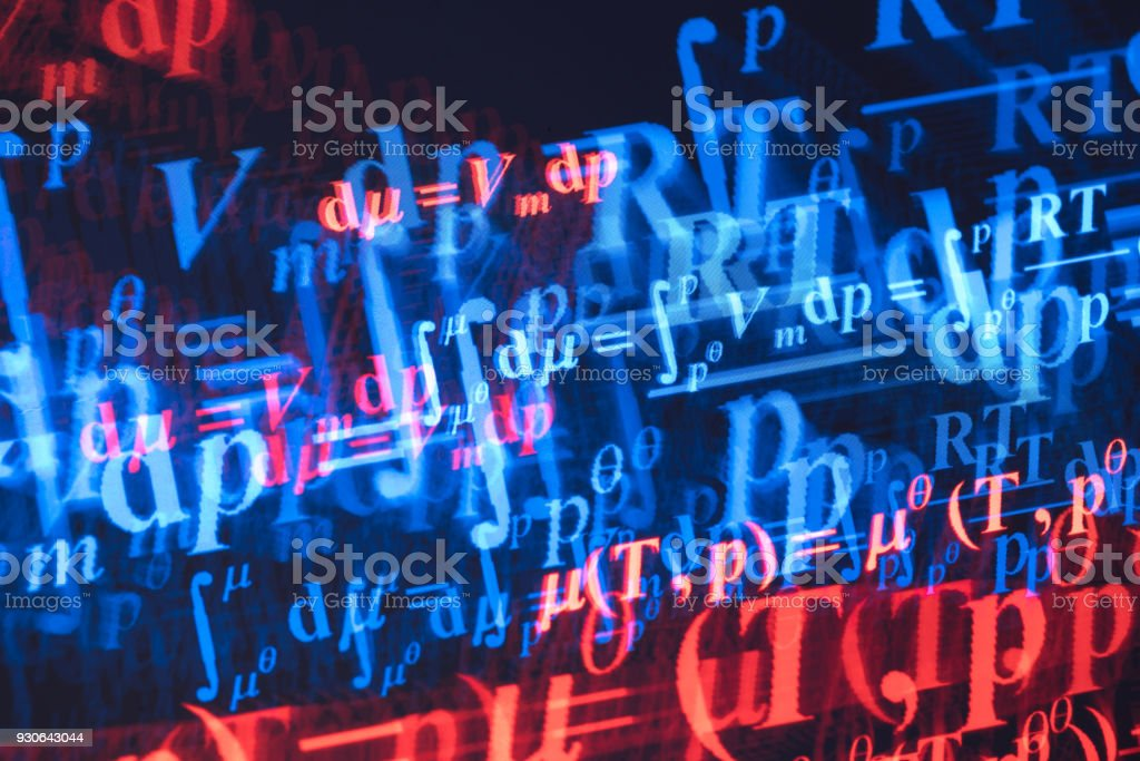 complex physical chemistry formula on screen multi exposure stock photo
