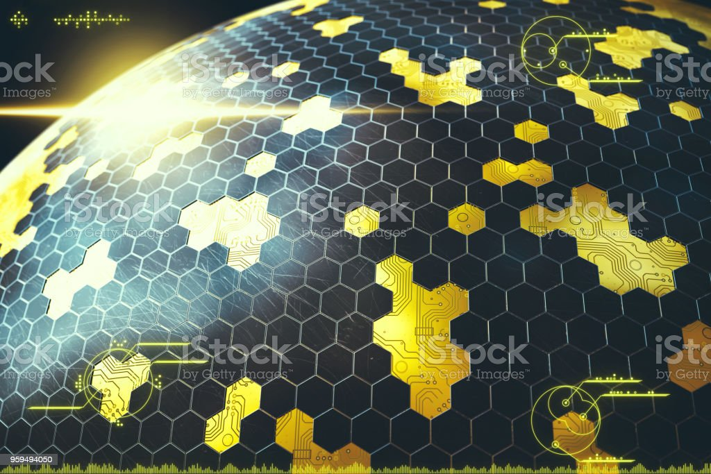 complex scifi spherical structure with digital overlay stock photo