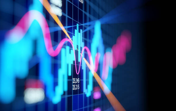 Complex Stock Market Candlestick Chart stock photo